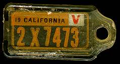 1943 California DAV Tag