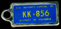 1960 District of Columbia DAV Tag