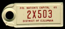 1965 District of Columbia DAV Tag