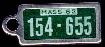1962 Massachusetts DAV Tag