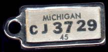 1945 Michigan DAV Tag