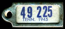 1945 Tennessee DAV Tag