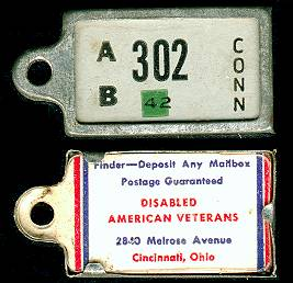 1942 Connecticut DAV Tag